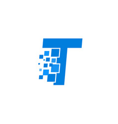 logo letter t blue blocks cubes vector image