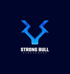 Logo strong bull gradient colorful style vector