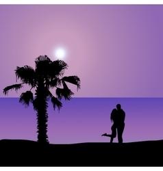 Loving couple on seashore at night vector