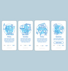 Manufacturing process blue onboarding mobile app vector