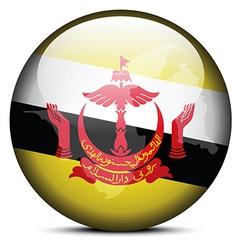 Map on flag button of Brunei Darussalam vector