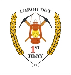 May 1st Labor Day Crossed picks and lantern vector