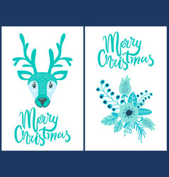 merry christmas deer flower vector image