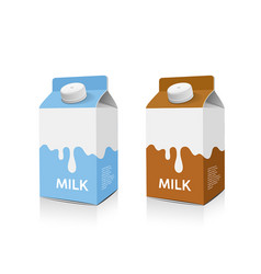 Milk box packaging light blue and brown design vector