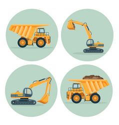 Modern dump truck and functional excavator emblems vector