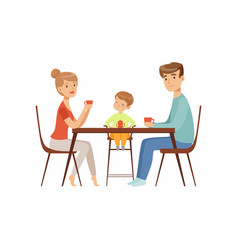 mom dad and their son sitting at the table and vector image