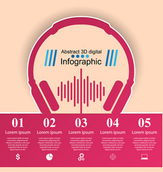 Music education infographic headphones icon vector