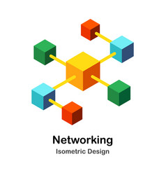 Networking isometric vector
