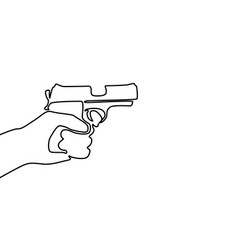 One continuous line drawing hand holding gun vector