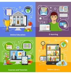 Online Education Concept 4 Flat Icons vector image