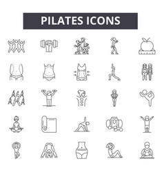 pilates line icons signs set outline vector image
