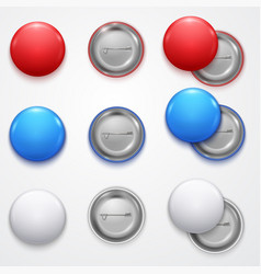 realistic 3d empty color blank circle button badge vector image