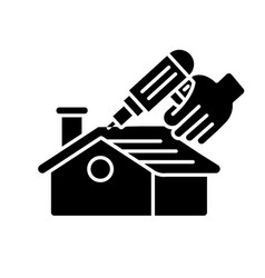 Roof constructing black glyph icon vector