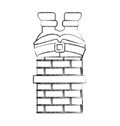 Santa claus stuck in the chimney vector