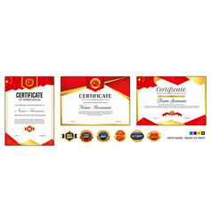 set diploma certificate template with luxury vector image