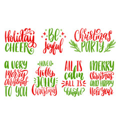 set of new year hand lettering on white background vector image