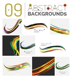 Set of wave abstract backgrounds vector image