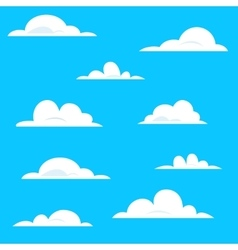 set various white cartoon clouds on blue vector image