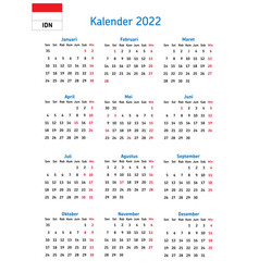Simple annual 2022 year wall and book calendar vector