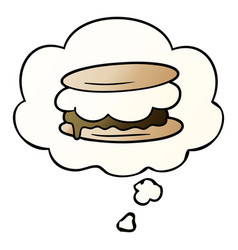 Smore cartoon and thought bubble in smooth vector