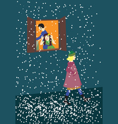 snow some girl on the evening street vector image vector image