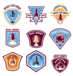 space camp emblems rocket launch astronaut vector image