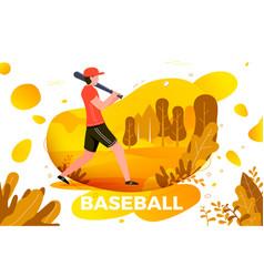 sporty man playing baseball vector image