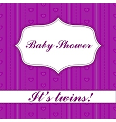 Striped baby shower twins vector image