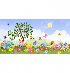 summer landscape with fruit trees vector image