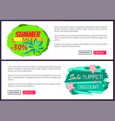 Summer sale flyers set push buttons promo banners vector