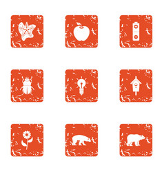 Survival of the fittest icons set grunge style vector