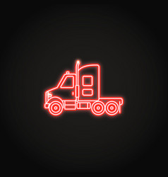 Tractor truck neon icon in line style vector