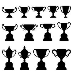 trophy cup silhouette black set a set trophy vector image