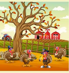 turkeys inside ranch fence vector image