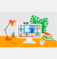 Virtual class online education distance learning vector