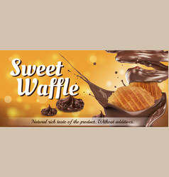 waffle with sprinkles chocolate sauce on an vector image