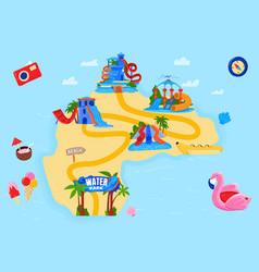 Water theme park cartoon flat vector