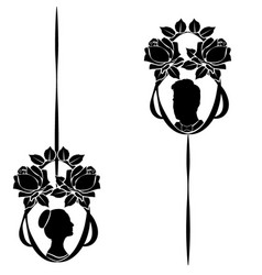 wedding silhouette flourishes 5 vector image