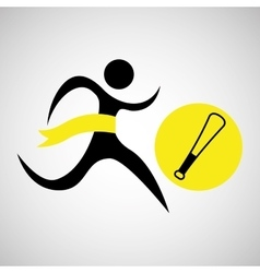 winner silhouette sport baseball icon vector image