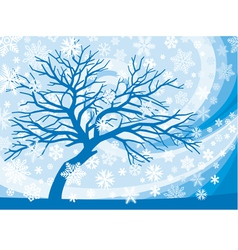 winter tree and snowflakes vector image