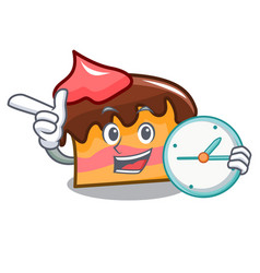 With clock sponge cake character cartoon vector