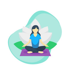 women do yoga pose with lotus flower in back vector image