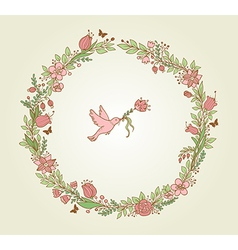 wreath of pink flowers leaves and bird vector image