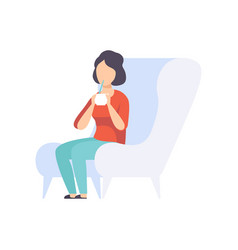 Young woman sitting in a chair and drinking a vector