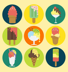 9 icons collection of ice cream design vector image