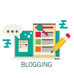 a laptop with blogging activity flat vector image