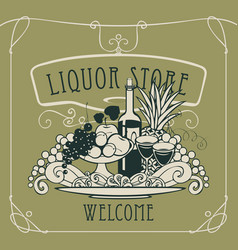 banner for liquor store with a still life vector image vector image