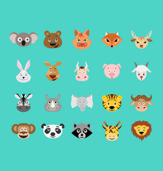 cute cartoon animal head icon set vector image