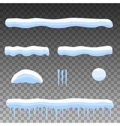 flat set cartoon snow snowdrift icicles vector image