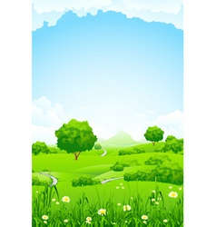 green fileds background vector image